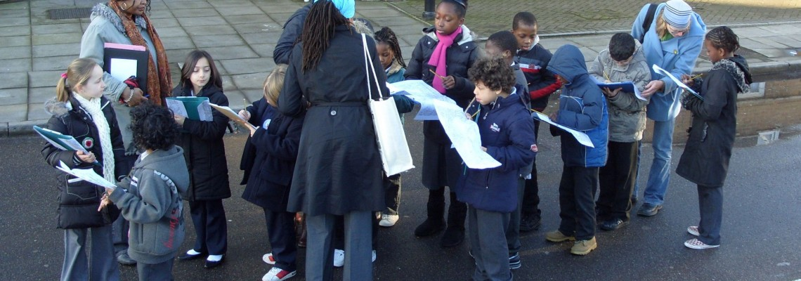 Local pupils carry out mapping in Hackney Wick